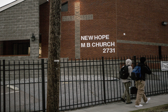 A view of New Hope M.B. Church on Enterprise Street. (Andrea Morales)