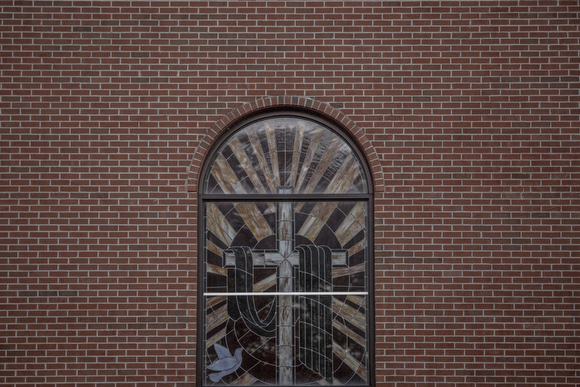 A detail of the stained glass at St. John Missionary Baptist Church. (Andrea Morales)