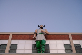 A Viking mascot watches over Hillcrest High School in Whitehaven. (Brandon Dahlberg)