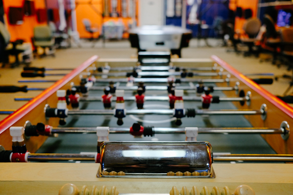 A foosball table is one of the few analog offerings at Game oN. (Brandon Dahlberg)