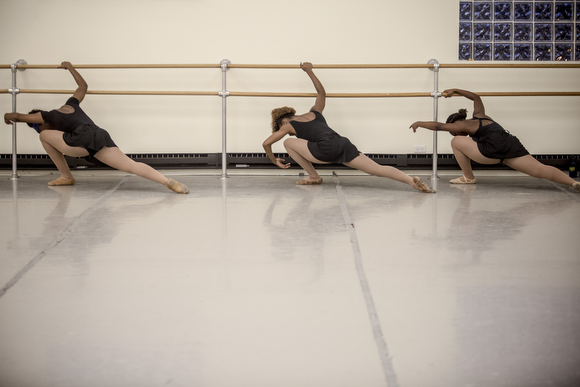 Precious Price, Nokomis McElroy and Asya Miles practice at New Ballet Ensemble's studio in Cooper-Young. (Andrea Morales)