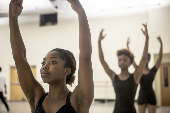 Asya Miles practices at New Ballet Ensemble's studio in Cooper-Young. (Andrea Morales)