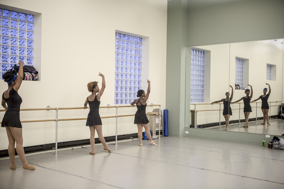 Precious Price, Nokomis McElroy and Asya Miles practice at New Ballet Ensemble. (Andrea Morales)