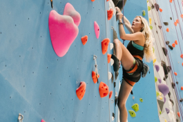 Rachel Sikes plans her next move up one of the walls at Memphis Rox. (Brandon Dahlberg)
