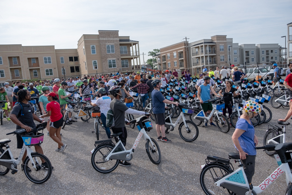 About 250 people participated in Explore Bike Share's inaugural ride. (Brandon Dahlberg)