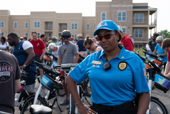 "Liza Wheaton, with the Downtown Memphis Commission, participated in Wedesday's ride. She said, ""the best part about today is exploring the city with the group."" (Brandon Dahlberg)"