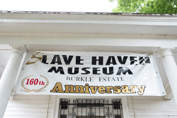 A sign hanging over the front door of the Burkle Estate commemorating the house's 160th anniversary, which it celebrated in 2018. (Brandon Dahlberg)
