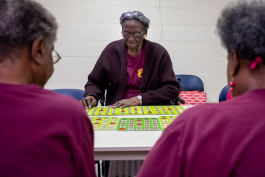 Annie Jones plays Bingo at the Bickford Community Center in Uptown. (Brandon Dahlberg)