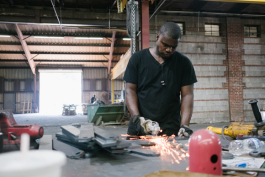One of Southern Steel's employees puts the finishing touches on an order. (Brandon Dahlberg)