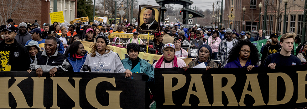 Hundreds march Downtown in honor of Dr. Martin Luther King Jr.'s birthday.
