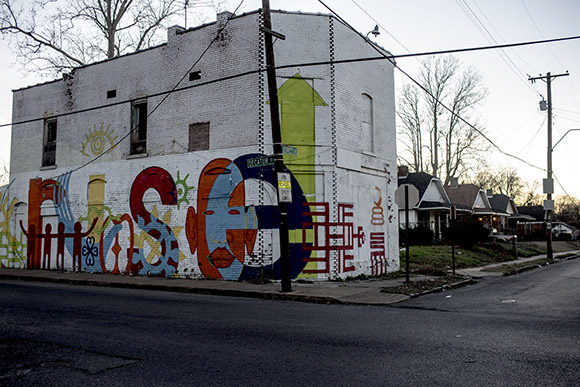 The RISE building on the corner of Looney and Decatur is a mural conceived and completed by the art club at Humes Prepatory Academy with the help of their teacher Melissa Lorenz and artist Shea Colburn.