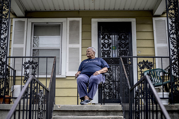 Willie Mae Brooks watches the neighborhood from her longtime home.