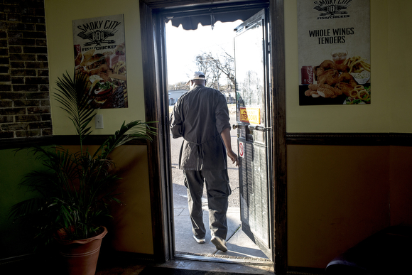 "Kenneth ""Slim"" Smith walks through the door at Smoky City Bar-B-Que."