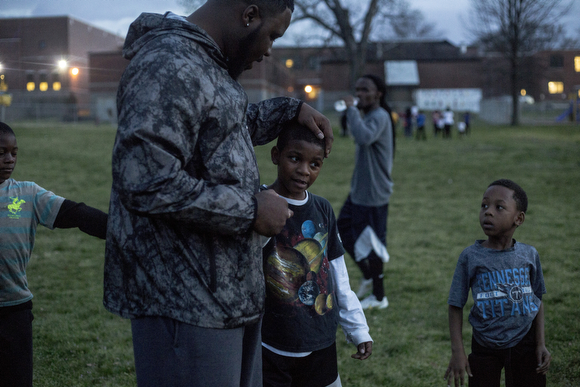 Kids on the North Memphis Steelers football team practice at the Katie Sexton Community Center.