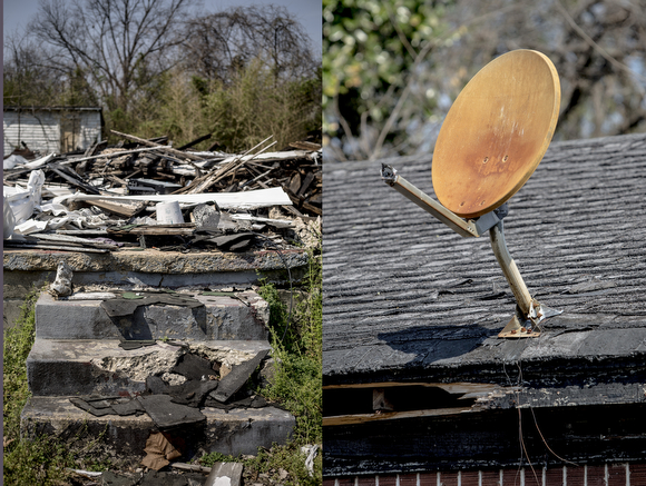(L) The remains of a home on Speed Street in Klondike. (R ) A rusted satellite dish on boarded up home on Olympic Street. Posted on the boards is a note from the City of Memphis code enforcement department marking the home a hazardous site.