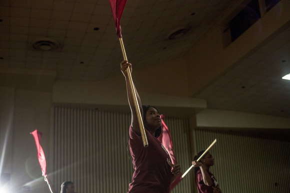 Melrose High School color guard performs with the band at a fundraiser in March.