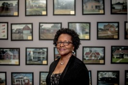 Linda Williams, president and CEO of RISE Memphis, stands for a portrait at the foundation's office.