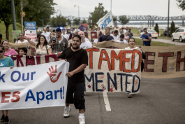 Over 100 people gathered at Martyr Park and marched down Riverside Drive to Beale Street in order to create visibility around the impact the Immigration and Customs Enforcement raids have had on the Latin American immigrant population in Memphis.