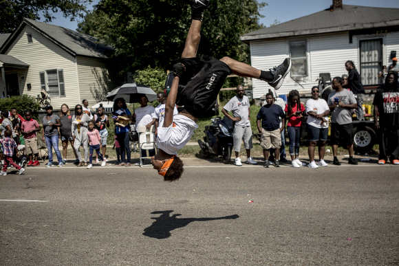 Acrobatics from a member of the Stop The Violence squad.