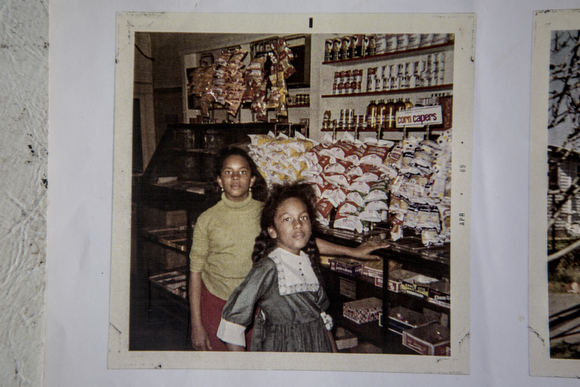 Deidra Tuggle, the Candy Lady of Orange Mound, and her sister at their grandfather's sundry store.