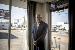 Fred Davis, longtime Orange Mound resident and activist, stands for a portrait at his insurance office on Airways Boulevard. Davis is a person of firsts: he opened one of the first black insurance agencies in the South, he served as the first black M