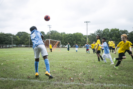 An young soccer team practices at Gaisman Park. (Natalie Eddings)