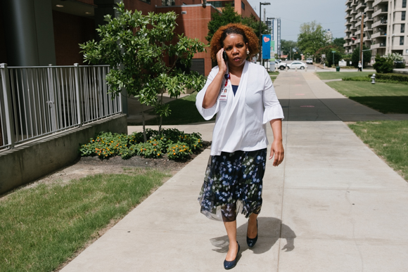 Lydia Walker walks between the building which houses the Memphis CHiLD clinic and the LeBonheur's main campus. (Brandon Dahlberg)