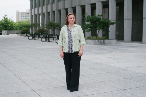 Mary Claire Borys, project manager with the City of Memphis Division of Housing & Community Development, outside her office in the Civic Plaza.