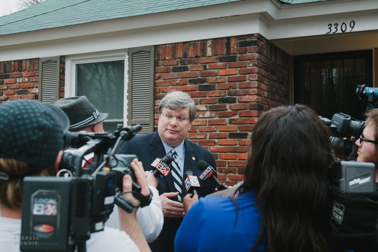 Memphis Mayor Jim Strickland was interviewed by local news outlets outside of one of the homes renovated by Frayser CDC. (Averell Mondie)