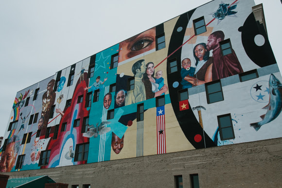 A mural by Jeff Zimmerman Downtown near AutoZone Park.