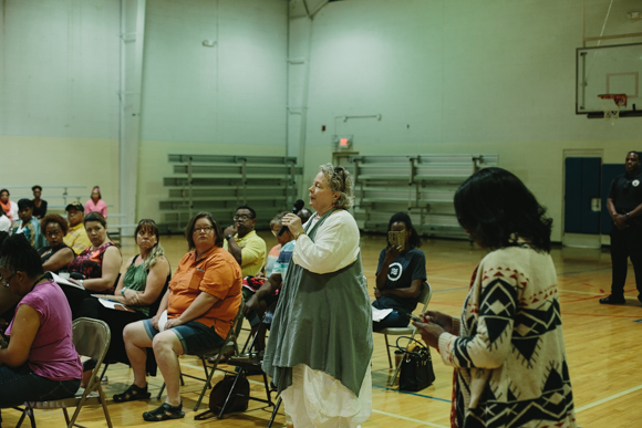 June West, executive director of Memphis Heritage, addresses MLGW at a recent community meeting.