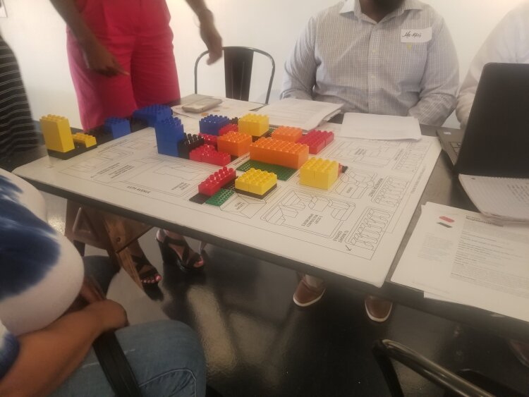 A closeup of one group's hypothetical Yorktown development built at the July 17 workshop hosted by ULI Memphis and JUICE Orange Mound. (Baris Gursakal)