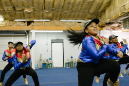 Girls from Memphis Area Youth Association youth group, which is made up of students in 5th through 7th grade, perform one of their routines. (Brandon Dahlberg)