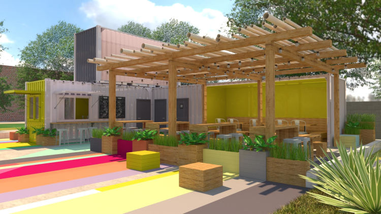 Renderings for the new Soulsville container restaurant show a bold and colorful design with indoor and outdoor seating. (Submitted)