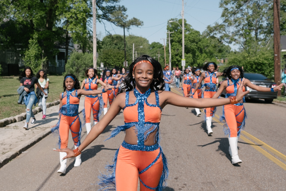 The Bellevue Middle School majorettes perform on March 29 during a foster care awareness parade.
