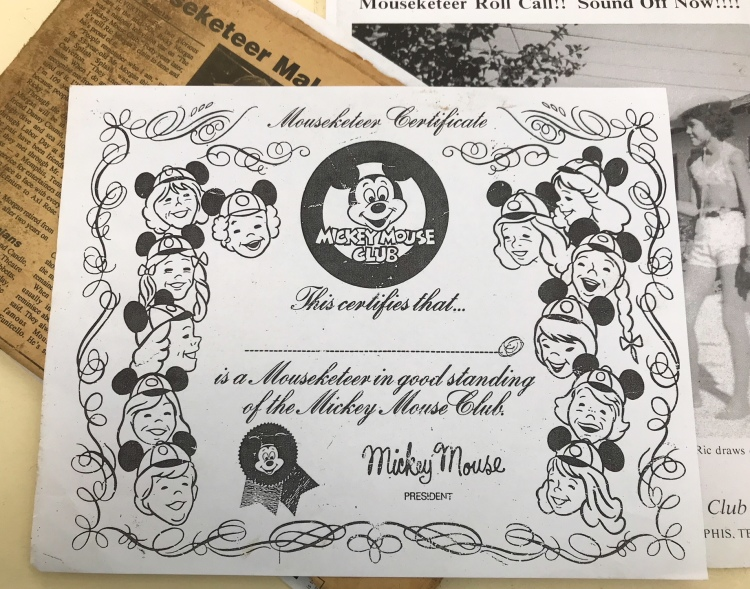 Among newspaper clippings and photos, Ric Morgan keeps a copy of his honorary Mouseketeer certificate, which he signs for any child who wishes to join the club. He grants the certificates at a few events each year. (Cole Bradley)