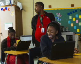 Steven McKinney teaches math class to his students at Booker T. Washington High School. (Ziggy Mack)