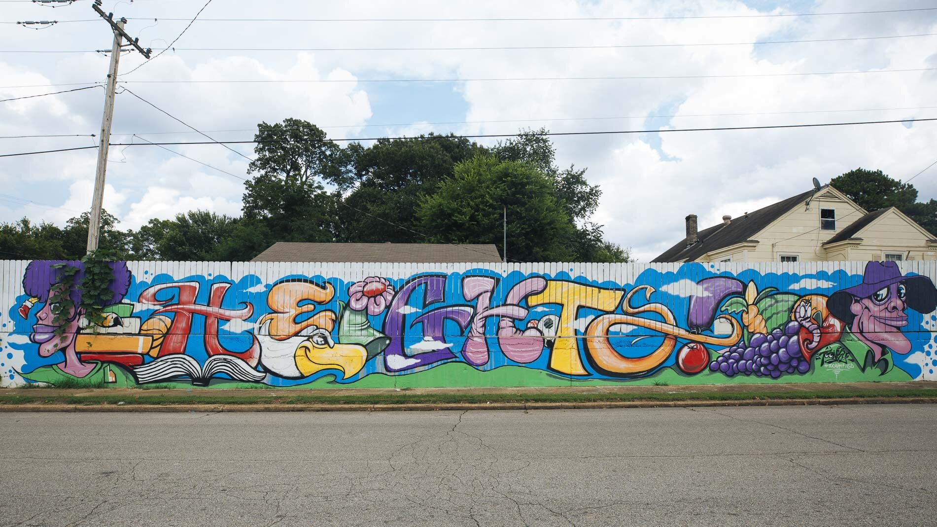 A mural decorates a retaining wall behind Treadwell schools in the Nutbush area of The Heights(Ziggy Mack)