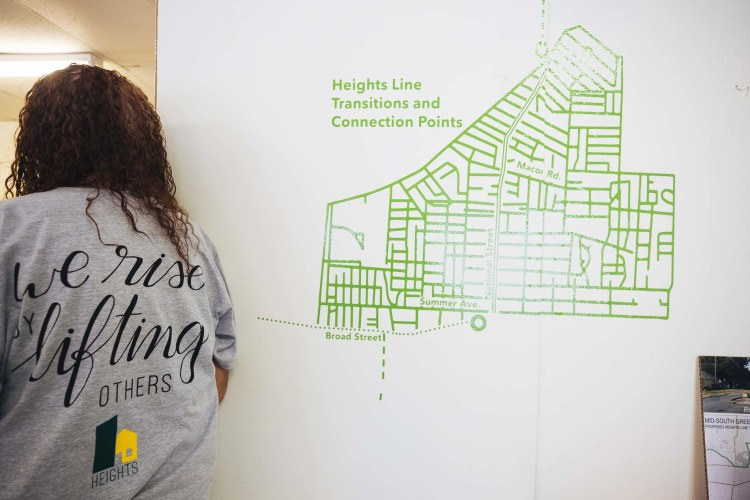 A map at the Heights Line Design Center shows the rough neighborhood boundaries. (Ziggy Mack)