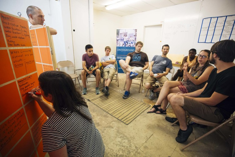 Brett Hunter and Katie Hargrave host a community meeting to reimagine the center of National Street as the Heights Line biking and pedestrian path connecting Summer to Jackson Avenues (Heights Line Design Studio)