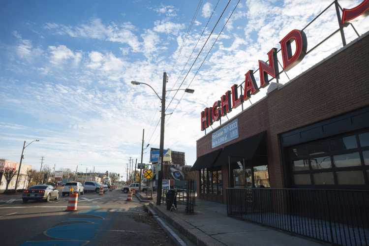 The Highland Strip has seen substantial growth in the last five years. Evidence of the Highland-Walker street improvements include painted concrete and traffic barrels. (Ziggy Mack)