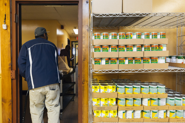 A view of the food pantry at Catholic Charities, 1325 Jefferson Avenue. (Ziggy Mack)