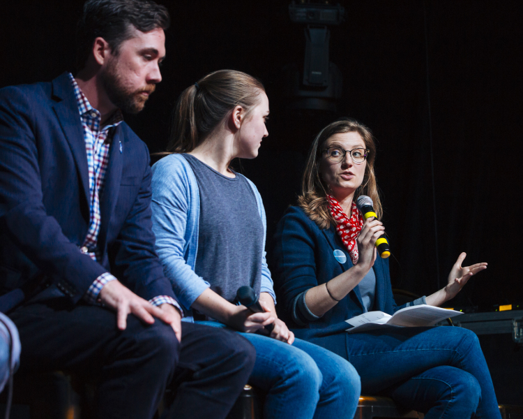Madeline Faber, High Ground News executive editor, addresses Cody Fletcher and Aubrey Toldi at an April 2 panel discussion. (Ziggy Mack)