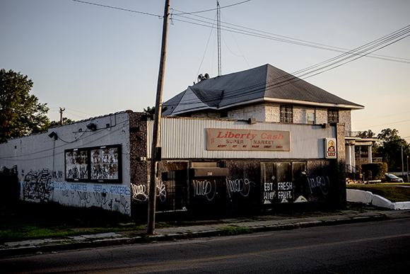 The boarded up storefront on Vance Avenue near Danny Thomas Boulevard most recently served as a corner store.