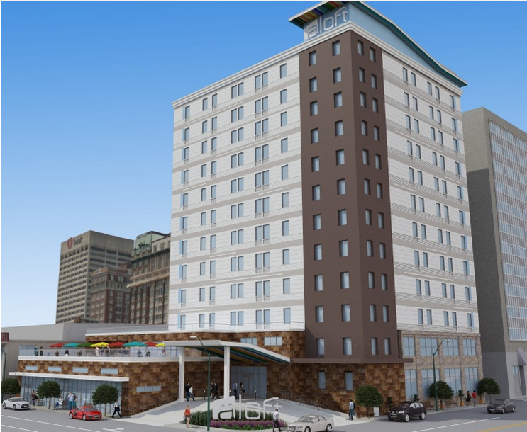 The new Aloft Downtown Memphis will go in at the former Tenoke Building at 191 Jefferson Ave.