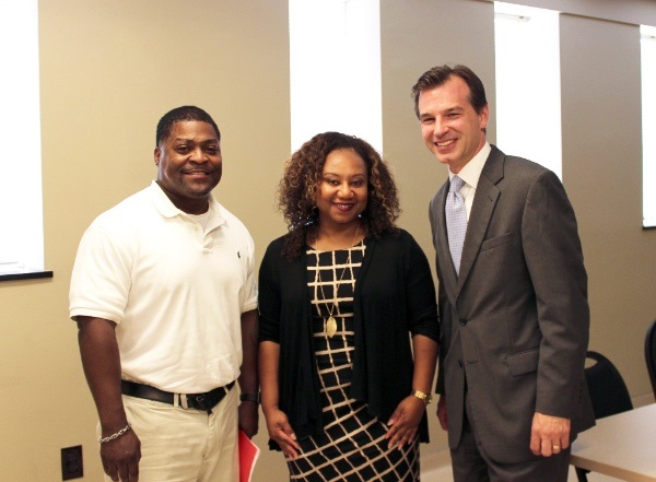 left to right: Morris Wilder (The Barber Institute, Owner), Natasha Donerson (EDGE Economic Development Finance Committee Board Chair), John Lawrence (EDGE Strategic Economic Development Planning Manager)