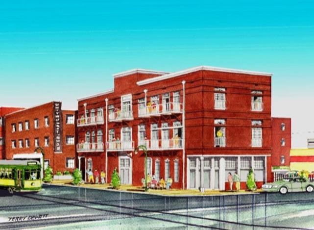 The new infill project will include a high-end deli and kitchen on the ground floor, with four apartments above.