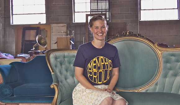 Karlee Hickman among some of her vintage treasures for rent.