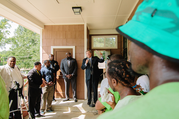 Mayor Strickland celebrated at the event marking the completed renovation of a once-blighted home in Frayser