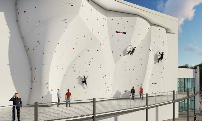 An artist rendering shows the new facility's outdoor climbing wall.